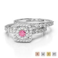 Gold / Platinum Round cut Pink Tourmaline and Diamond Bridal Set Ring AGDR-1246