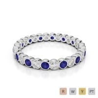 Gold / Platinum Round Cut Blue Sapphire and Diamond Full Eternity Ring AGDR-1099