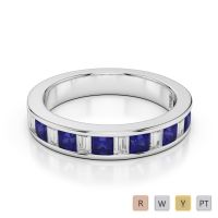 4 MM Gold / Platinum Princess and Baguette Cut Blue Sapphire and Diamond Half Eternity Ring AGDR-1143