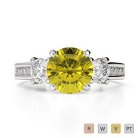 Gold / Platinum Round Cut Yellow Sapphire and Diamond Engagement Ring AGDR-1218