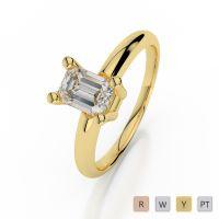 Gold / Platinum Emerald Shape Diamond Solitaire Ring AGDR-1003