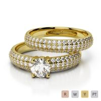 Gold / Platinum Round cut Diamond Bridal Set Ring AGDR-1152