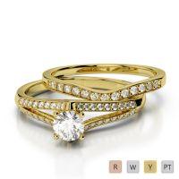 Gold / Platinum Round cut Diamond Bridal Set Ring AGDR-2037