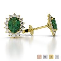 Gold / Platinum Oval Shape Gemstone Earring AGER-1071