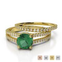 Gold / Platinum Diamond & Gemstone Bridal Set Ring AGDR-2035