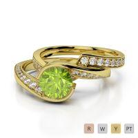 Gold / Platinum Round cut Peridot and Diamond Bridal Set Ring AGDR-2019