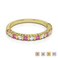 Gold / Platinum Diamond Half Eternity Ring AGDR-1095