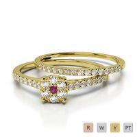 Gold / Platinum Diamond & Gemstone Bridal Set Ring AGDR-1053