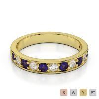 3 MM Gold / Platinum Round Cut Tanzanite and Diamond Half Eternity Ring AGDR-1084