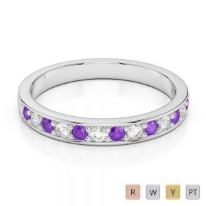 2.5 MM Gold / Platinum Round Cut Amethyst and Diamond Half Eternity Ring AGDR-1083