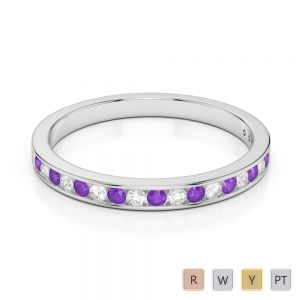 2.5 MM Gold / Platinum Round Cut Amethyst and Diamond Half Eternity Ring AGDR-1089