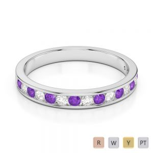 3 MM Gold / Platinum Round Cut Amethyst and Diamond Half Eternity Ring AGDR-1090