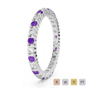 2 MM Gold / Platinum Round Cut Amethyst and Diamond Full Eternity Ring AGDR-1092