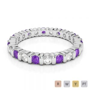 2.5 MM Gold / Platinum Round Cut Amethyst and Diamond Full Eternity Ring AGDR-1093