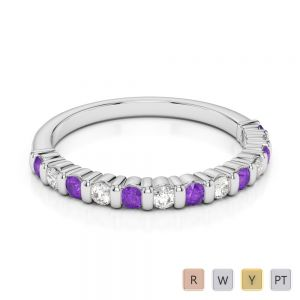 2 MM Gold / Platinum Round Cut Amethyst and Diamond Half Eternity Ring AGDR-1095