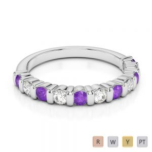 2.5 MM Gold / Platinum Round Cut Amethyst and Diamond Half Eternity Ring AGDR-1096