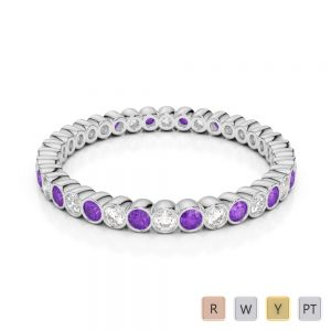 2 MM Gold / Platinum Round Cut Amethyst and Diamond Full Eternity Ring AGDR-1098