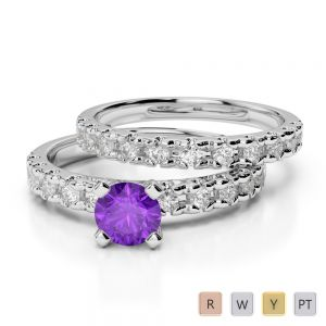 Gold / Platinum Round cut Amethyst and Diamond Bridal Set Ring AGDR-1144