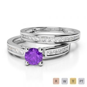 Gold / Platinum Round cut Amethyst and Diamond Bridal Set Ring AGDR-1157