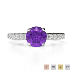 Gold / Platinum Round Cut Amethyst and Diamond Engagement Ring AGDR-1201