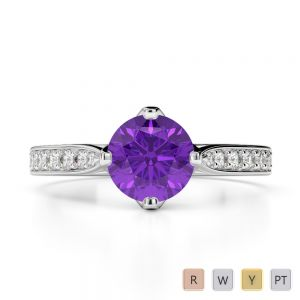 Gold / Platinum Round Cut Amethyst and Diamond Engagement Ring AGDR-1204