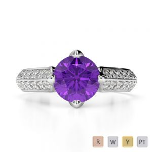 Gold / Platinum Round Cut Amethyst and Diamond Engagement Ring AGDR-1205