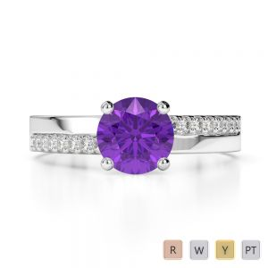 Gold / Platinum Round Cut Amethyst and Diamond Engagement Ring AGDR-1206