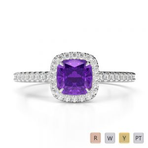 Gold / Platinum Round and Cushion Cut Amethyst and Diamond Engagement Ring AGDR-1212