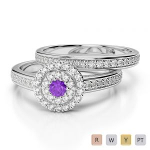 Gold / Platinum Round cut Amethyst and Diamond Bridal Set Ring AGDR-1239