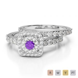 Gold / Platinum Round cut Amethyst and Diamond Bridal Set Ring AGDR-1246