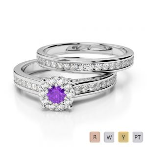 Gold / Platinum Round cut Amethyst and Diamond Bridal Set Ring AGDR-1339