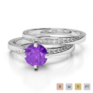 Gold / Platinum Round cut Amethyst and Diamond Bridal Set Ring AGDR-2001