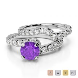 Gold / Platinum Round cut Amethyst and Diamond Bridal Set Ring AGDR-2003