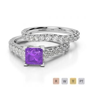 Gold / Platinum Round and Princess cut Amethyst and Diamond Bridal Set Ring AGDR-2007