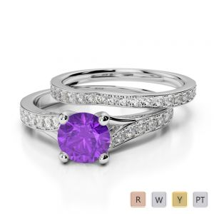 Gold / Platinum Round cut Amethyst and Diamond Bridal Set Ring AGDR-2011