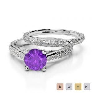 Gold / Platinum Round cut Amethyst and Diamond Bridal Set Ring AGDR-2013