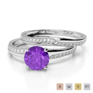 Gold / Platinum Round cut Amethyst and Diamond Bridal Set Ring AGDR-2015