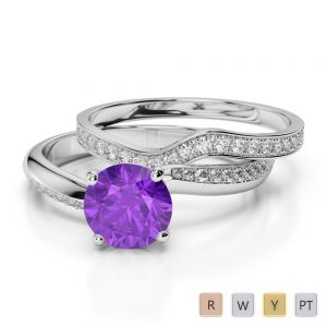 Gold / Platinum Round cut Amethyst and Diamond Bridal Set Ring AGDR-2017