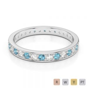 2.5 MM Gold / Platinum Round Cut Aquamarine and Diamond Full Eternity Ring AGDR-1079