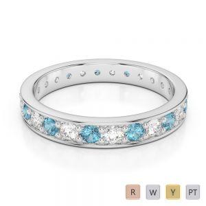 3 MM Gold / Platinum Round Cut Aquamarine and Diamond Full Eternity Ring AGDR-1080