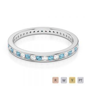 2.5 MM Gold / Platinum Round Cut Aquamarine and Diamond Full Eternity Ring AGDR-1086
