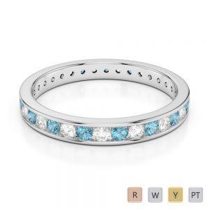 3 MM Gold / Platinum Round Cut Aquamarine and Diamond Full Eternity Ring AGDR-1087