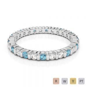 2 MM Gold / Platinum Round Cut Aquamarine and Diamond Full Eternity Ring AGDR-1092