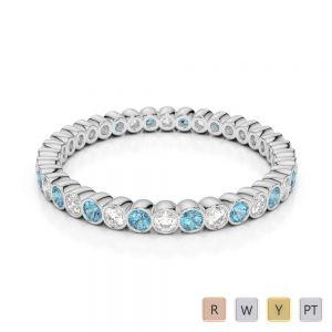 2 MM Gold / Platinum Round Cut Aquamarine and Diamond Full Eternity Ring AGDR-1098