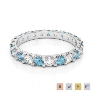 2.5 MM Gold / Platinum Round Cut Aquamarine and Diamond Full Eternity Ring AGDR-1105