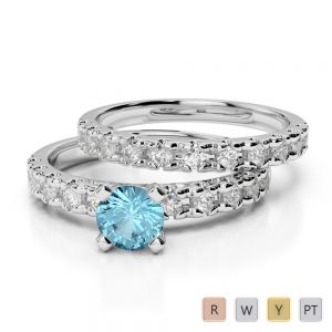 Gold / Platinum Round cut Aquamarine and Diamond Bridal Set Ring AGDR-1144