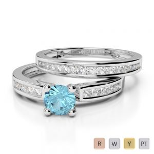 Gold / Platinum Round cut Aquamarine and Diamond Bridal Set Ring AGDR-1157