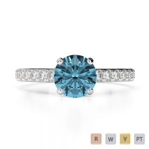Gold / Platinum Round Cut Aquamarine and Diamond Engagement Ring AGDR-1201