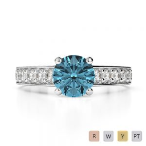 Gold / Platinum Round Cut Aquamarine and Diamond Engagement Ring AGDR-1202