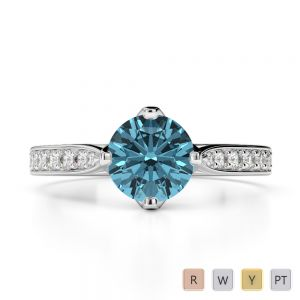 Gold / Platinum Round Cut Aquamarine and Diamond Engagement Ring AGDR-1204